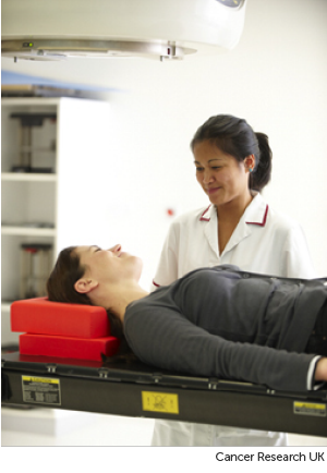 Photo of a radiographer and a patient about to have chemotherapy